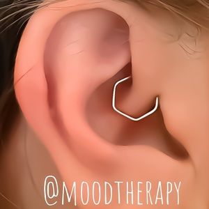 Hexagon Cartilage Daith Helix Hoop Earring